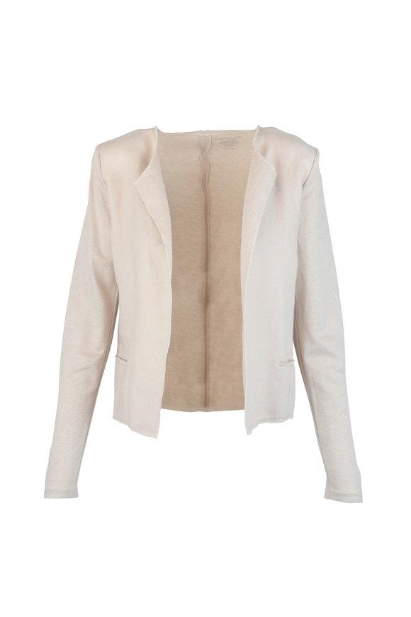 Majestic Beige Linen Open Jacket