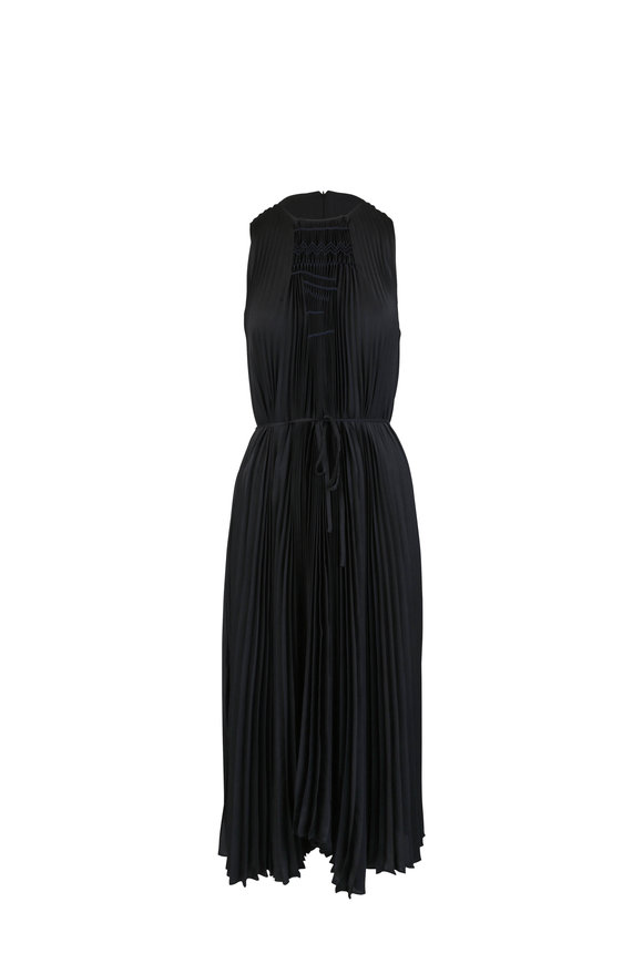 Vince Black Smocked Pleat Dress