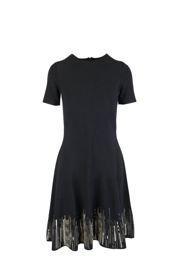 Oscar de la Renta Black & Gold Embroidered Knit Dress