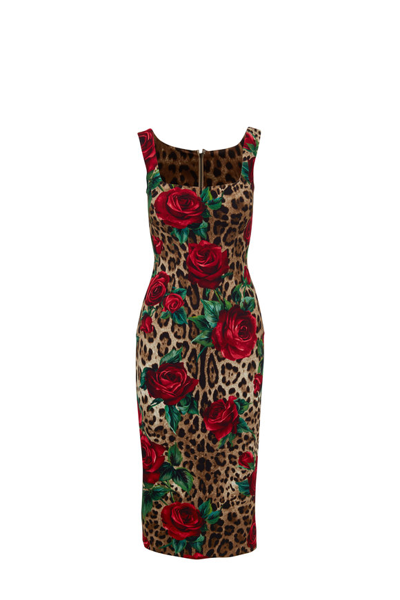 Dolce & Gabbana Leopard & Rose Print Fitted Sleeveless Dress