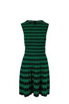 Akris Punto - Green & Black Scallop Print Knit Dress