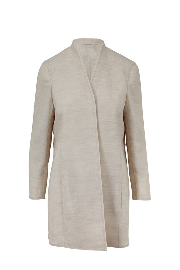 Akris Blanca Kraft Long Open Jacket