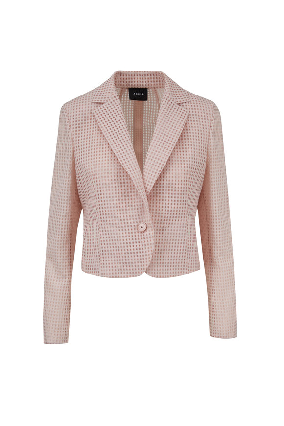 Akris Ambrosia Blush Square Ajouré Embroidered Jacket