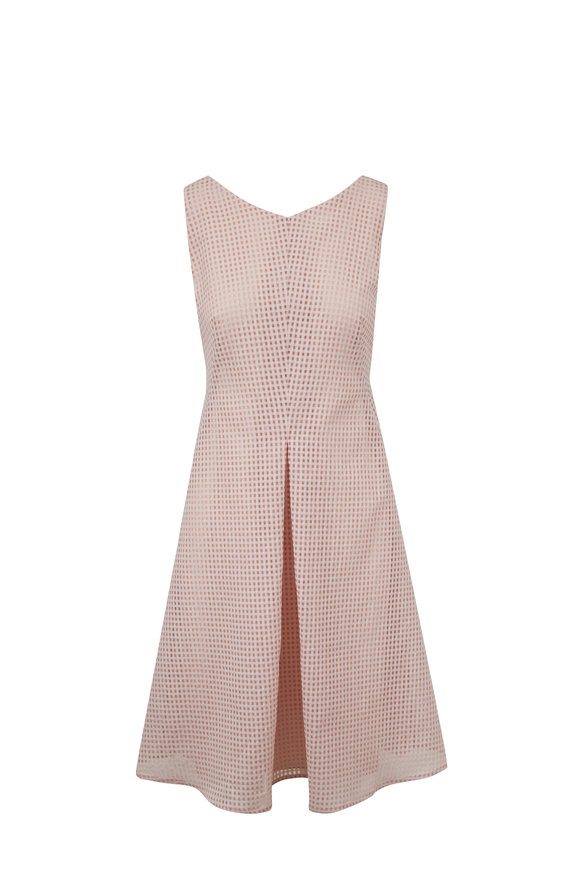 Akris Blush Square Ajouré Embroidered Dress