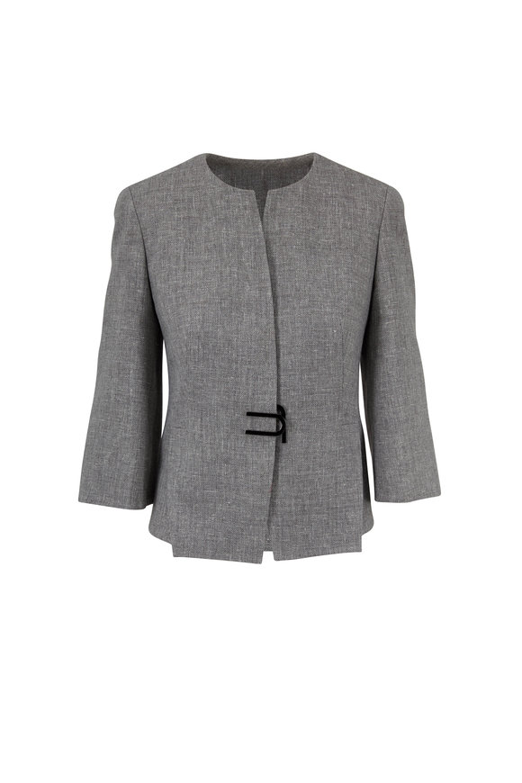 Akris Titan Linen & Wool Magnetic Closure Jacket