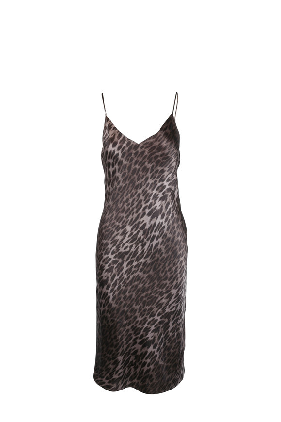 L'Agence Jodie Olive Leopard Print Silk Slip Dress