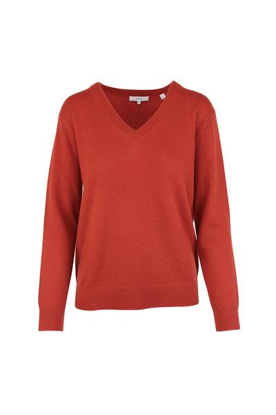 Vince - Adobe Red Cashmere V-Neck Sweater