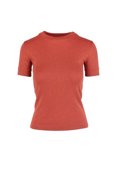 Vince - Adobe Red Shrunken Crewneck T-Shirt