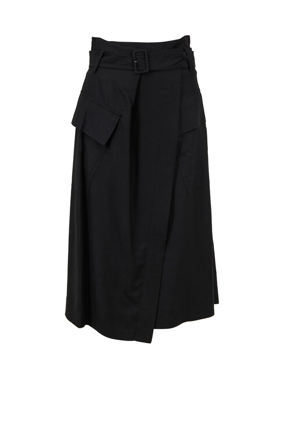 Vince Black Cotton Utility Wrap Skirt