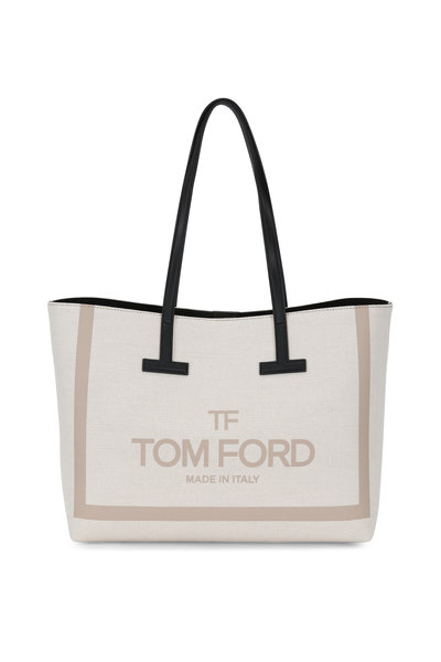 Tom Ford - Beige Canvas Small T Tote