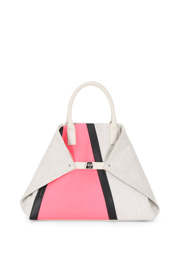 Akris Ai Pink & Alabaster Linen & Leather Medium Tote