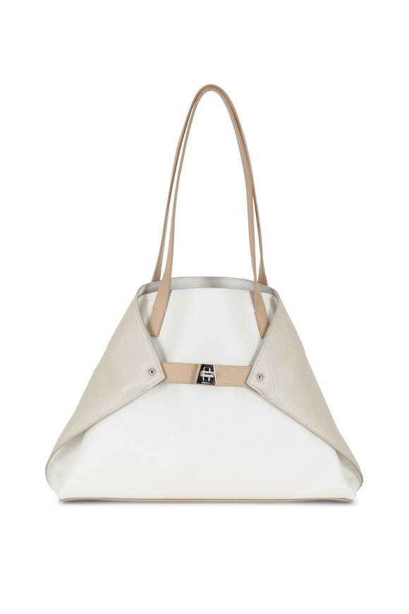 Akris Ai White, Stucco & Metallic Cordage Small Tote