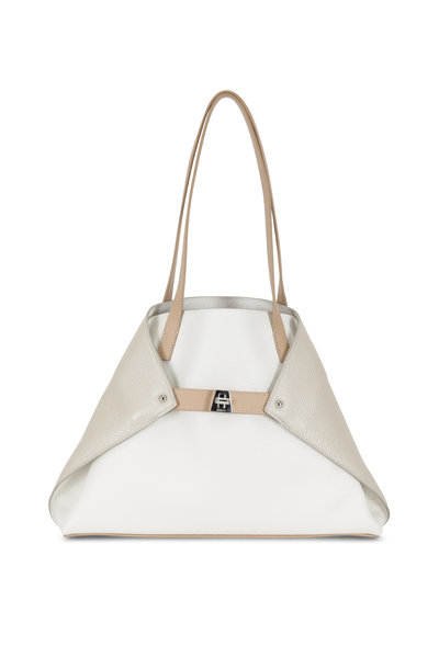 Akris - Ai White, Stucco & Metallic Cordage Small Tote
