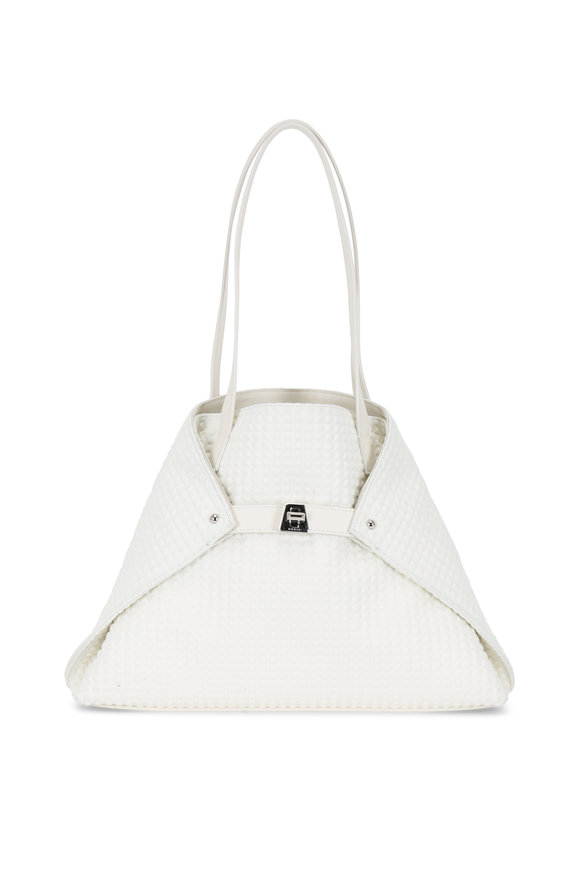 Akris Ai White Embossed Techno Fabric Small Tote