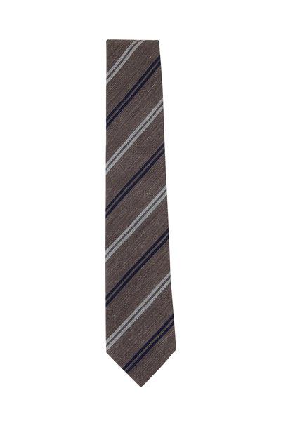 Brunello Cucinelli - Tobacco & Gray Striped Cotton & Linen Necktie