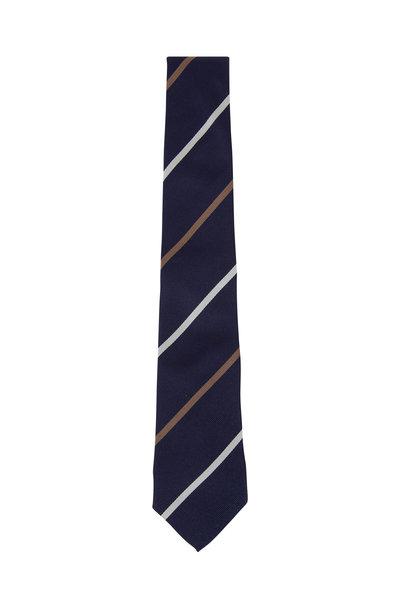 Brunello Cucinelli - Navy & Brown Striped Silk Necktie