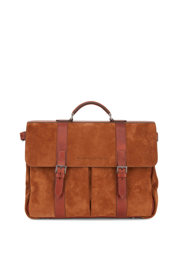 Brunello Cucinelli Camel Leather & Suede Briefcase