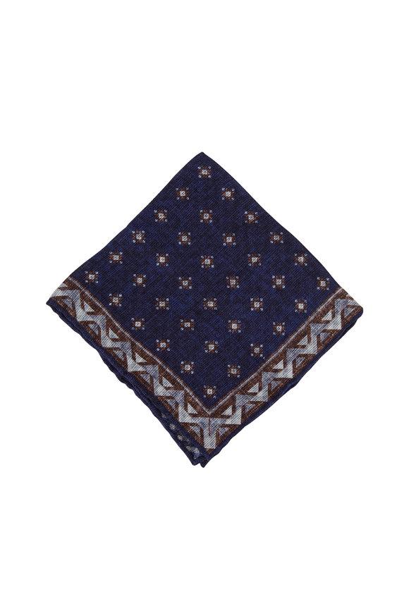 Brunello Cucinelli Blue Linen & Cotton Pocket Square