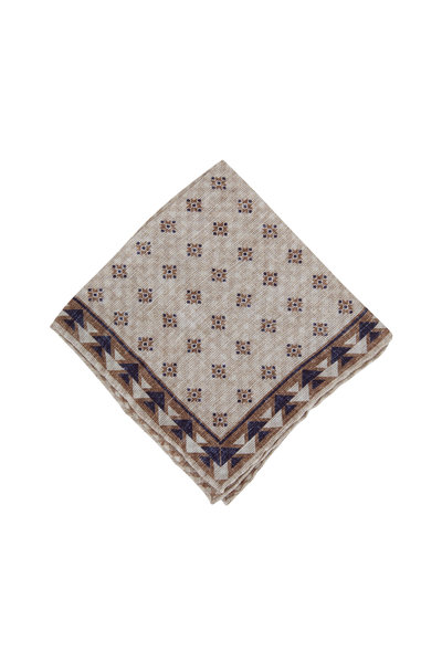 Brunello Cucinelli - Beige & Brown Geometric Print Pocket Square