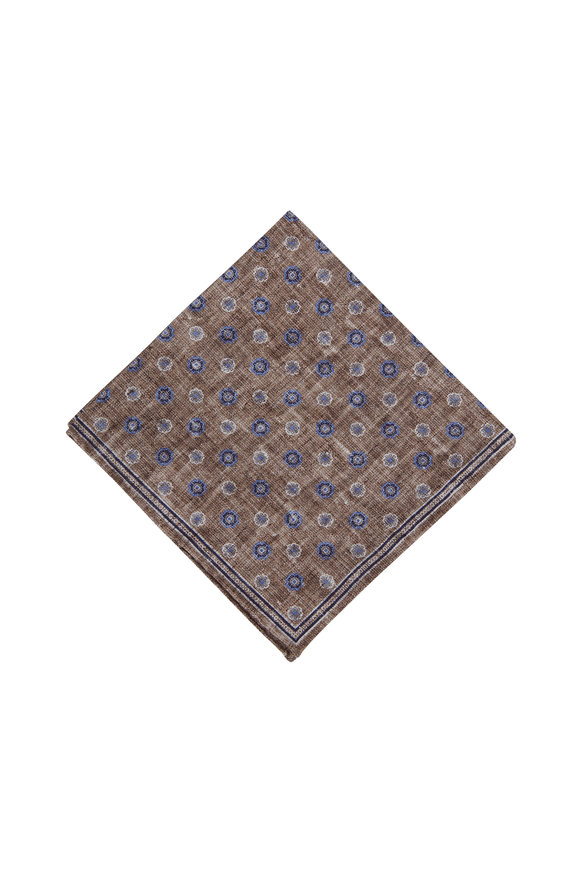 Brunello Cucinelli Brown Floral Silk & Cotton Pocket Square