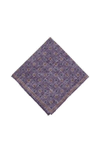 Brunello Cucinelli - Purple & Blue Floral Pocket Square
