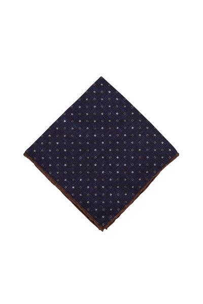 Brunello Cucinelli - Blue & White Dot Pocket Square