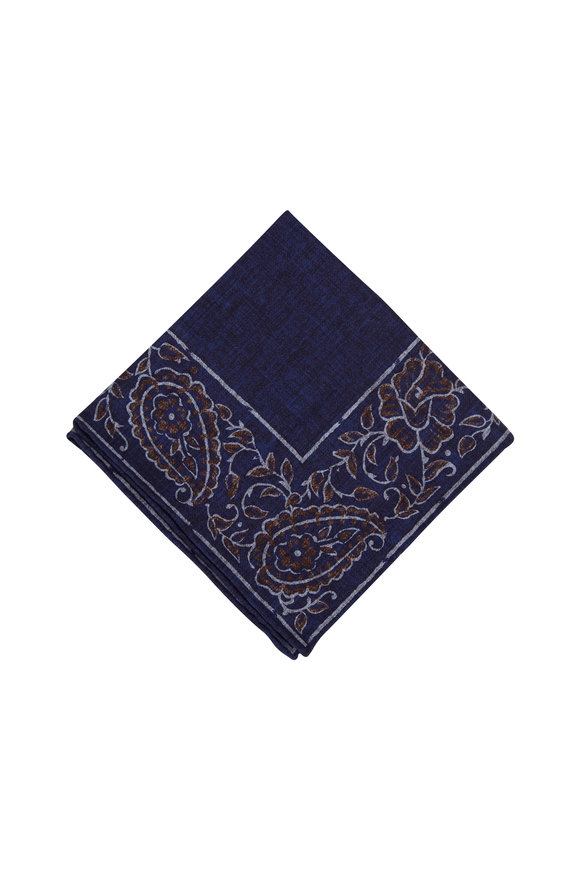 Brunello Cucinelli Blue & Brown Floral Border Pocket Square