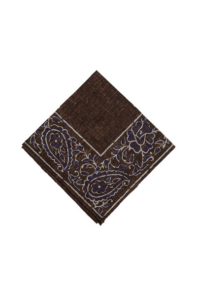 Brunello Cucinelli - Brown & Blue Paisley Pocket Square