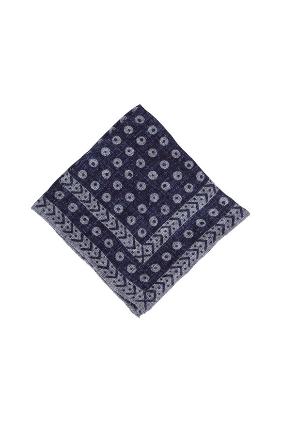 Brunello Cucinelli Navy Geometric Print Linen & Cotton Pocket Square