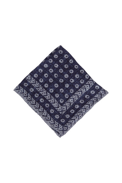 Brunello Cucinelli - Navy Geometric Print Linen & Cotton Pocket Square