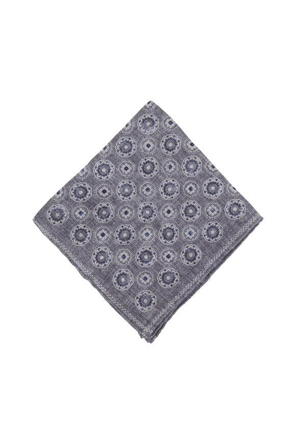 Brunello Cucinelli Gray & Navy Linen & Cotton Pocket Square