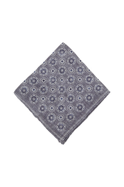 Brunello Cucinelli - Gray & Navy Linen & Cotton Pocket Square
