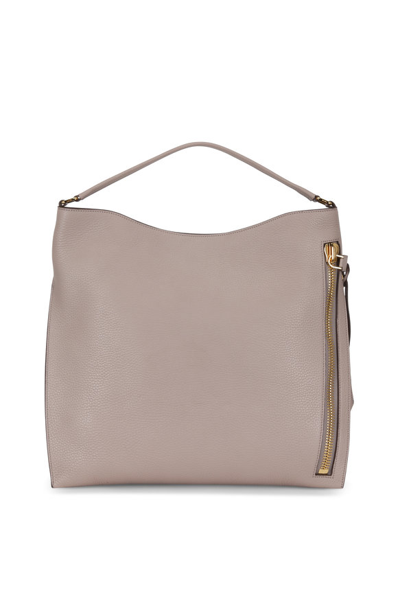 Tom Ford Alix Taupe Leather Large Hobo Bag