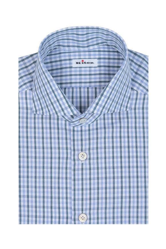 Kiton Blue, White & Green Check Dress Shirt