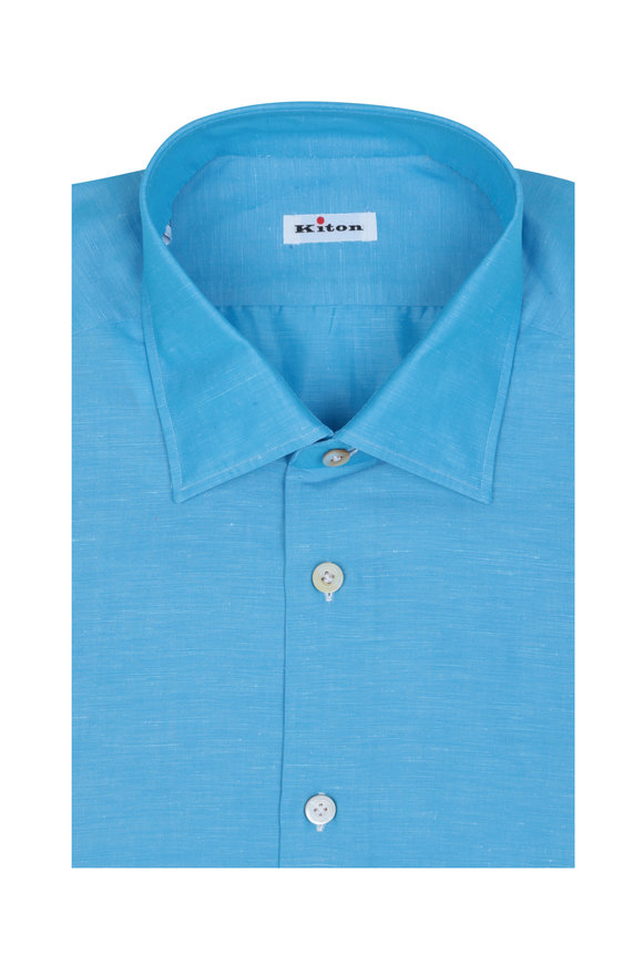 Kiton GX Solid Teal Cotton & Linen Dress Shirt