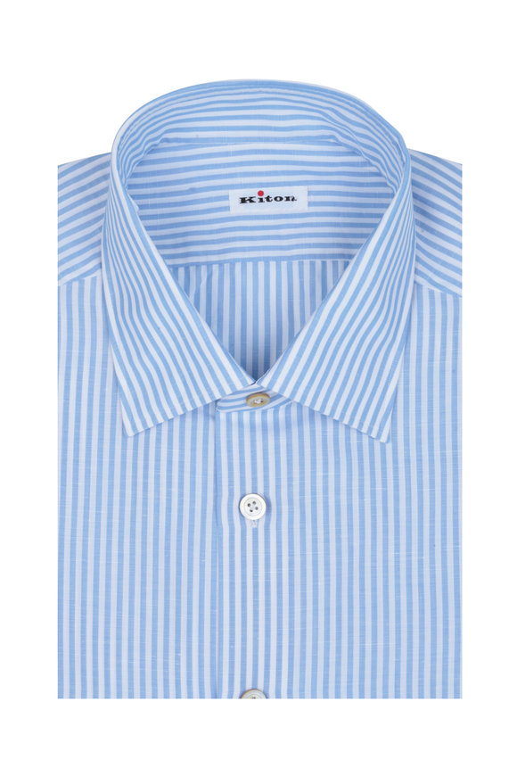 Kiton GX Blue & White Striped Dress Shirt