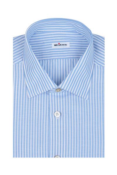 Kiton - GX Blue & White Striped Dress Shirt