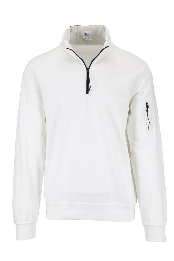 CP Company White Cotton Quarter-Zip Pullover