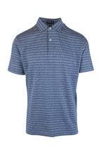 Peter Millar - Dark Blue Striped Cotton & Linen Polo