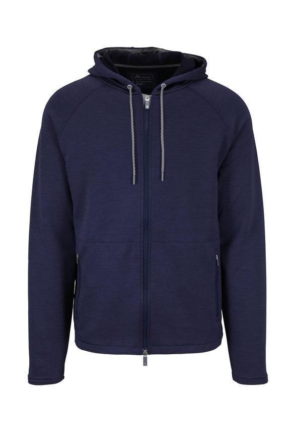 Peter Millar Crown Sport Active Navy Jersey Full Zip Hoodie