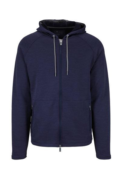 Peter Millar - Crown Sport Active Navy Jersey Full Zip Hoodie