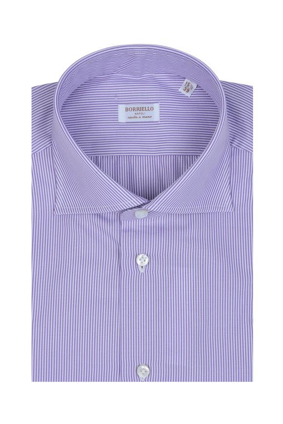 Borriello Purple & White Striped Dress Shirt
