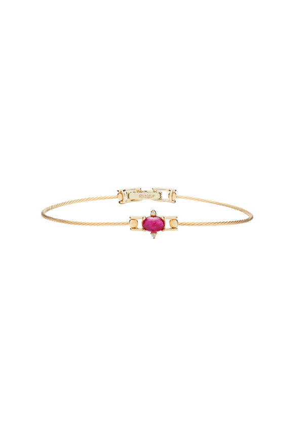 Paul Morelli 18K Yellow Gold Ruby & Diamond Wire Bracelet