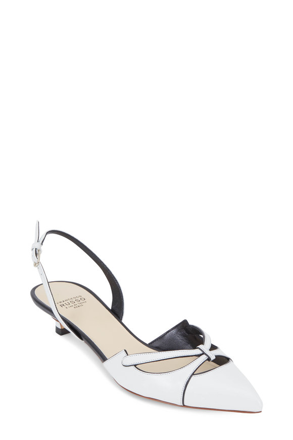 Francesco Russo  White & Black Leather Halter Slingback, 25mm