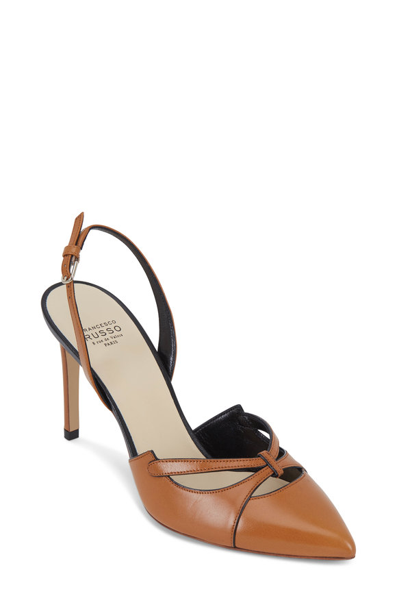 Francesco Russo  Honey & Black Leather Halter Slingback, 90mm