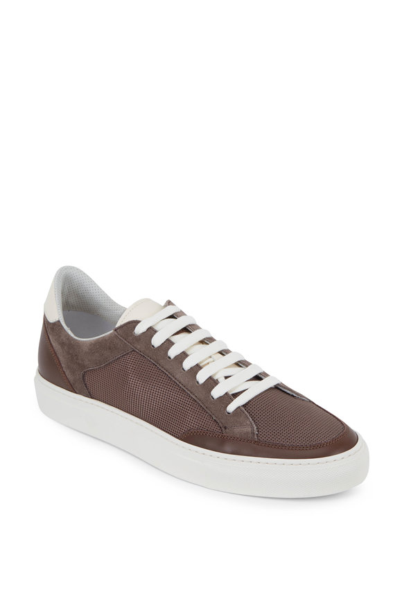 Brunello Cucinelli Brown Mesh & Leather Low-Top Sneaker