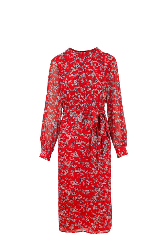 Escada Dessia Red Floral Belted Long Sleeve Dress
