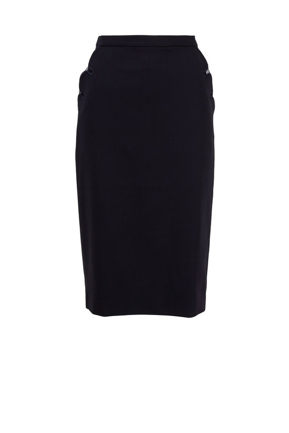 Escada Rhia Navy Blue Wool Pocket Detail Pencil Skirt