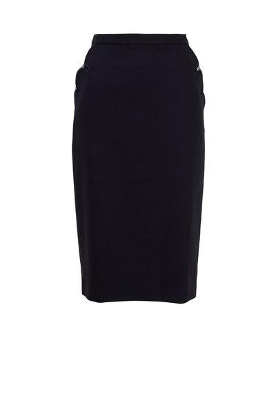 Escada - Rhia Navy Blue Wool Pocket Detail Pencil Skirt