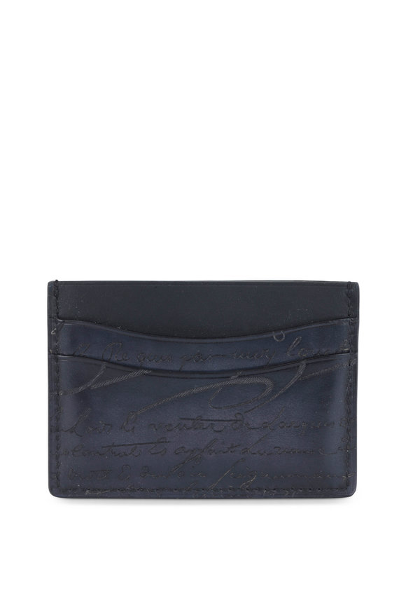 Berluti Bambou Navy Blue Engraved Leather Card Holder